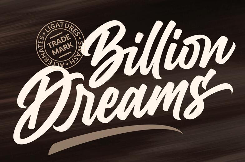 马克笔手写书法英文字体BillionDreams_PERSONAL.ttf